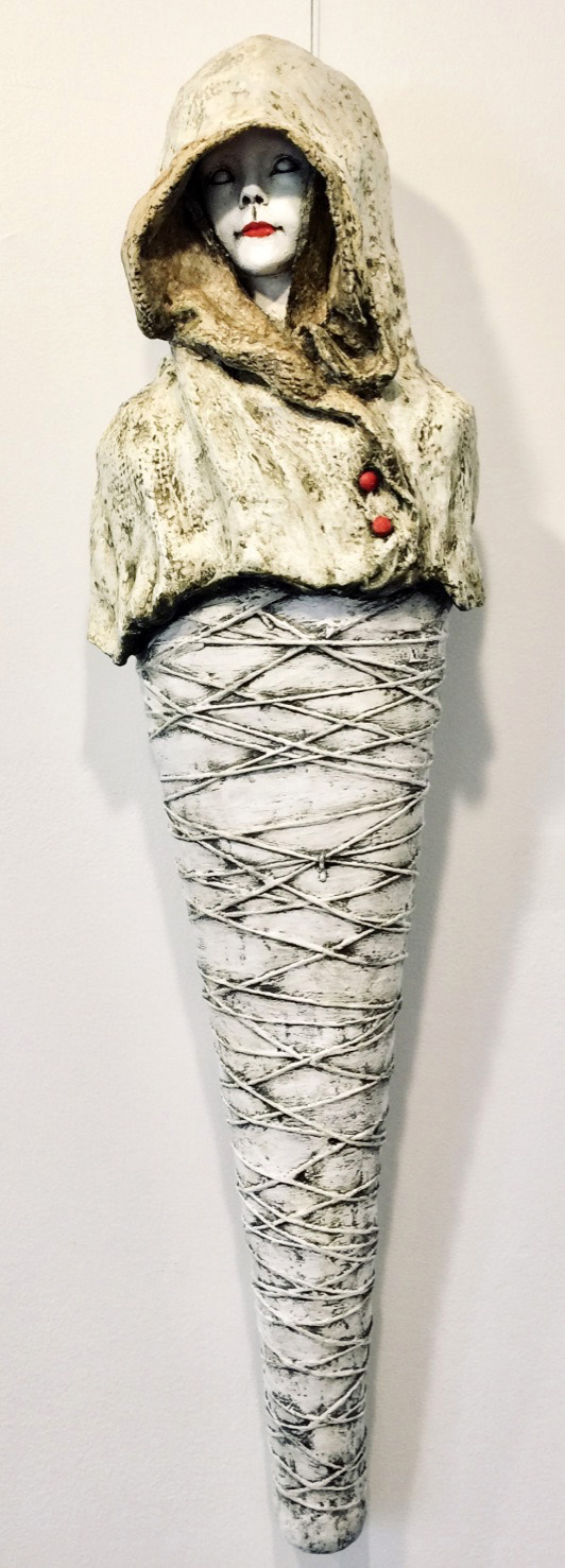 Hecate (Goddess of Crossroads)   Plaster Wrap, Plaster, Cement, Modeling Compound, Clay, Cast Iron, Acrylic Paint and Medium, Found Objects  $900  Click to enlarge   Inquire.