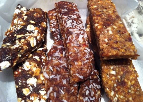 Left to right: Oatmeal Raisin, Chocolate CocoNut, Almond Butter