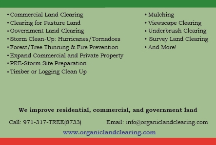 Organic Land Clearing Postcard- Back