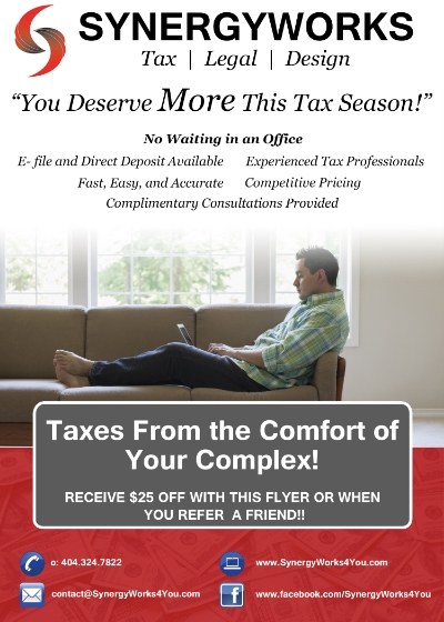 SynergyWorks Tax Season 2015 Flyer