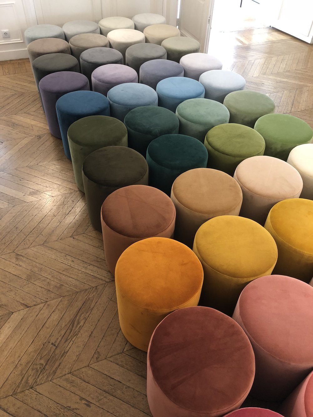 24X Custom made stools for our designers in an ombre of colour
