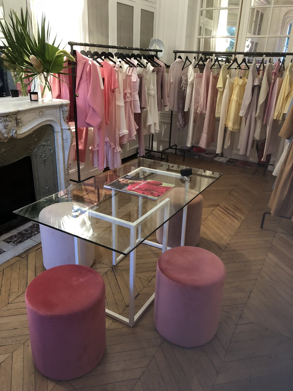 Designer Maggie Marilyn choose the Pink Ombre stools to complement her SS19 collection
