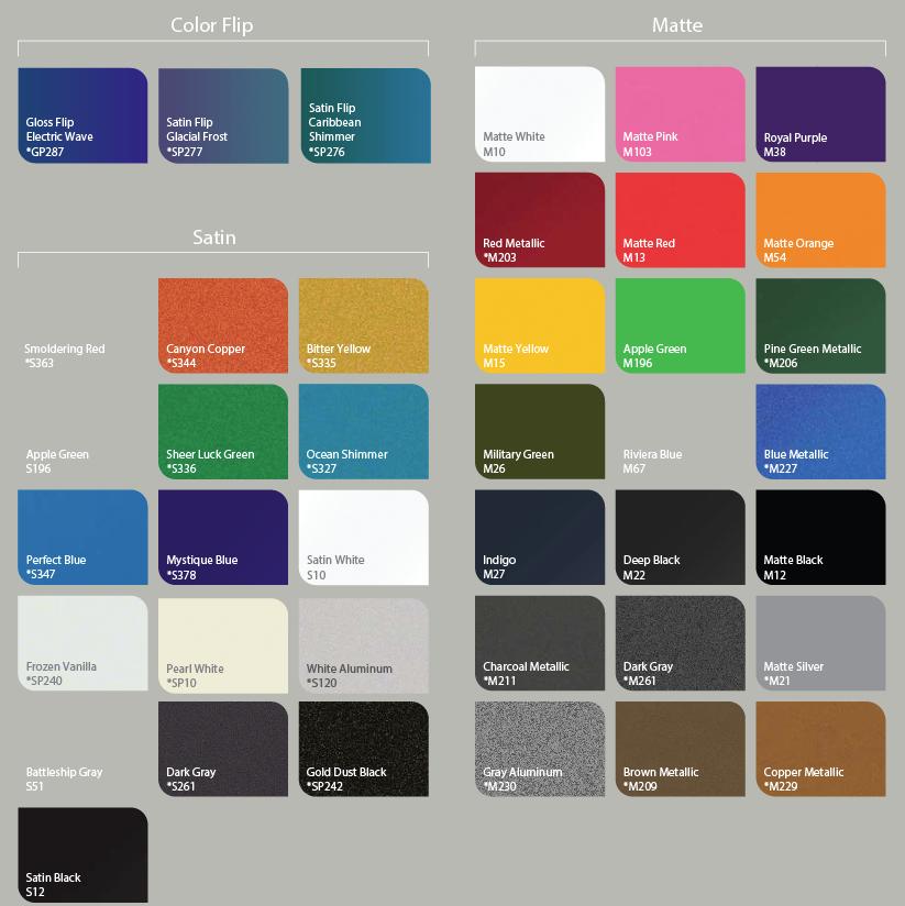 Wrap N Graphics Vinyl Color Chart
