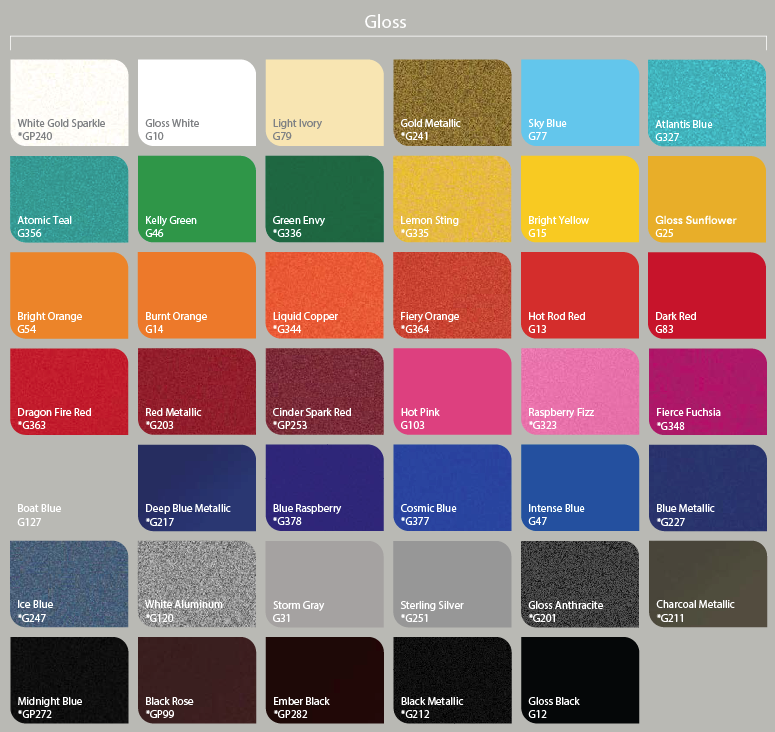 Wrap N Graphics Vinyl Color Chart