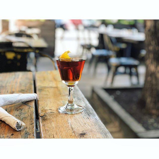 Plissken cocktail  rittenhouse rye amaro montenegro  regans orange  Plus a patio 🌞🌞🌞