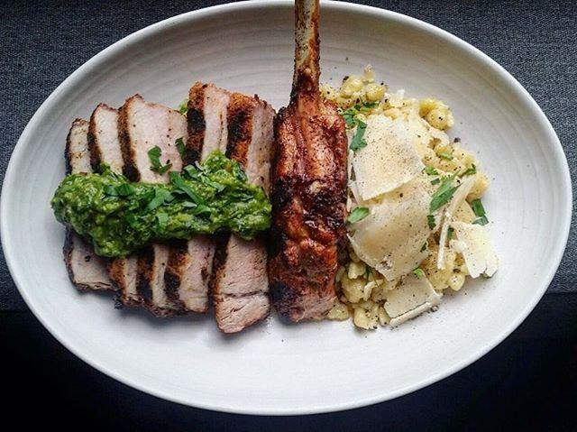 Pork tomahawk  cajun spiced pesto frascatelli parmesan  #dinneratthewin #tomahawkchop