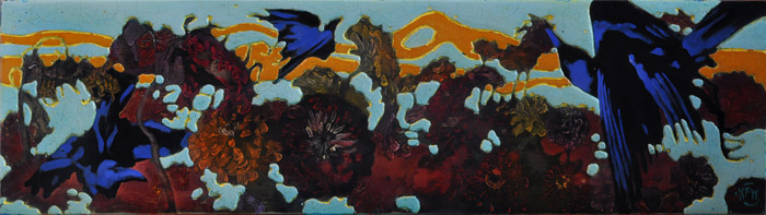 "334 Ravens & Zinnias 44"" x 13.5"" Oil on wood panel $2,300."