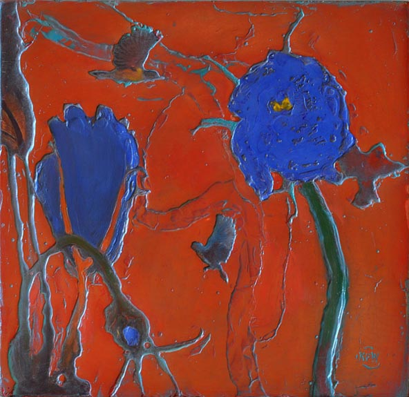 "321 Lisianthus Forest 19"" x 19.5"" Oil on wood panel SOLD"