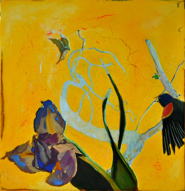 "323 Iris 22"" x 23"" Oil on wood panel SOLD"