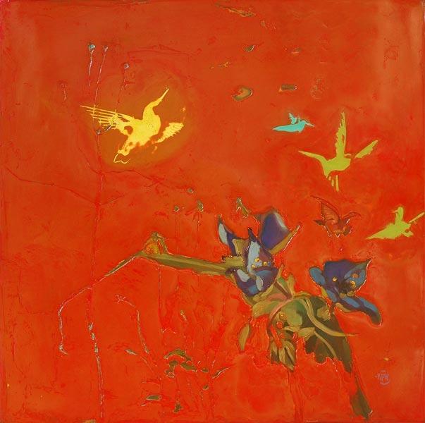 289<br>Spiderwort & Hummingbirds<br>33 x 33<br>SOLD