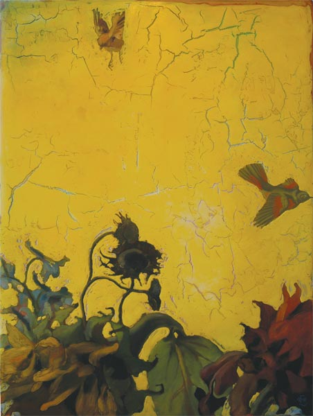 "315 Sunflower Sky 35""x 47"" Oil on wood panel SOLD"