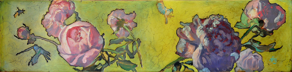 "319 Peony Morning 48"" x 12"" Oil on wood panel SOLD"