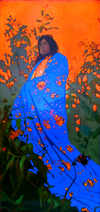 "344 Illuminated Oil on wood panel 22"" x 46"" $4,000."