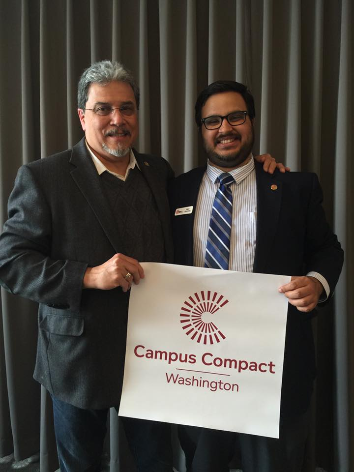 Former 40th District Chair Marc Oommen (above, right) was recently recognized for his work with Campus Connect, Washington. Here he is with Rep. Luis Moscoso (D-10th) at the Museum of Flight in Seattle.