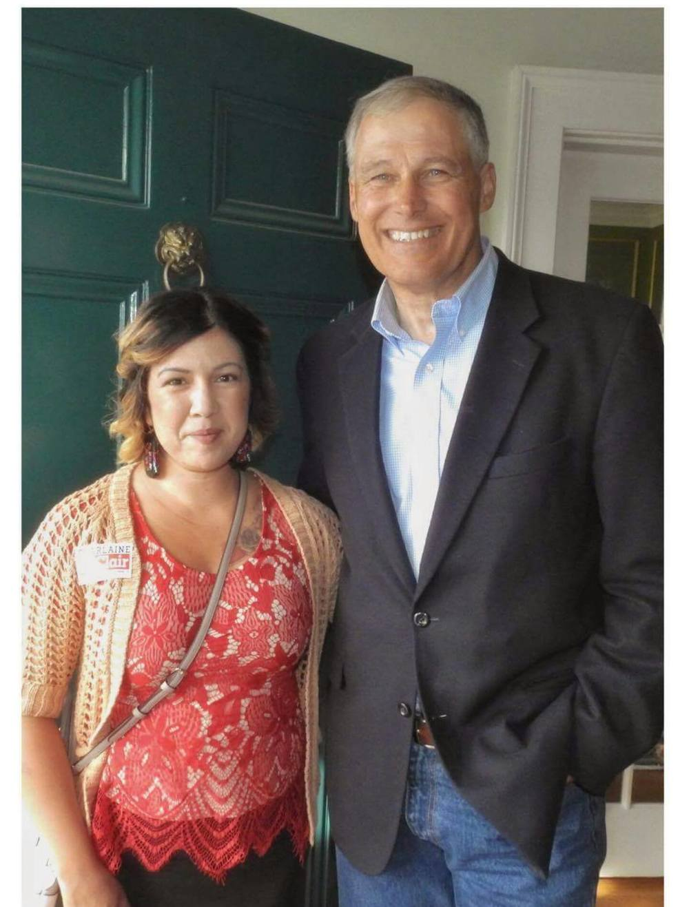 Sharlaine LaClair, Democratic candidate for 42nd District Representative, with Washington State Governor Jay Inslee. PHOTO: Tara Nelson