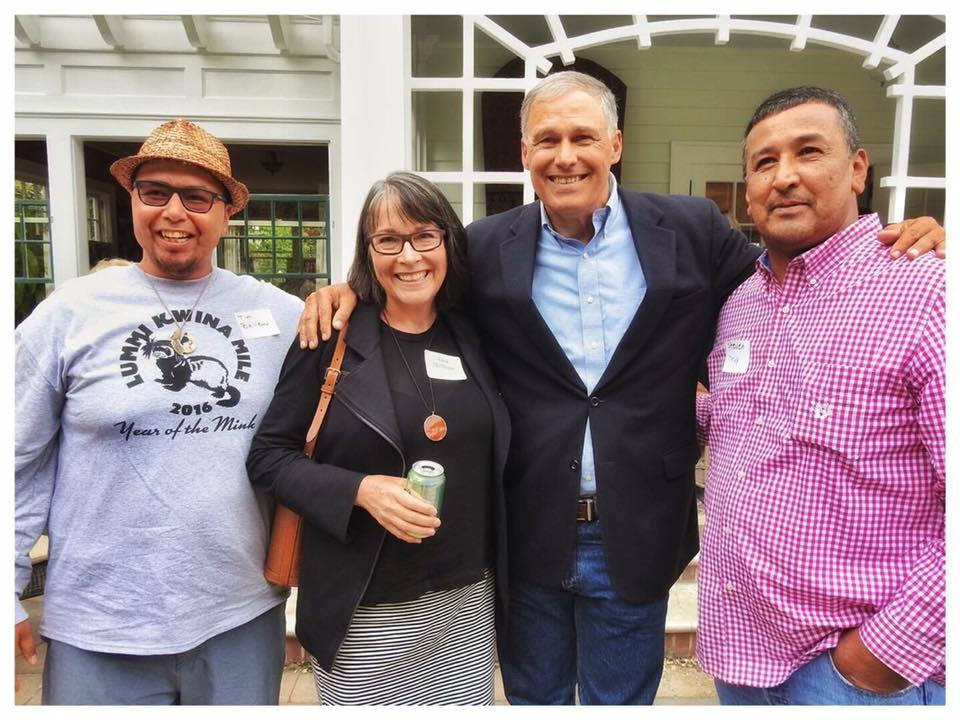 From left: Lummi Nation Business Council Chair Tim Ballew II, Lisa McShane, Gov. Jay Inslee, Lummi Nation Business Council member Steven Toby. PHOTO: Tara Nelson