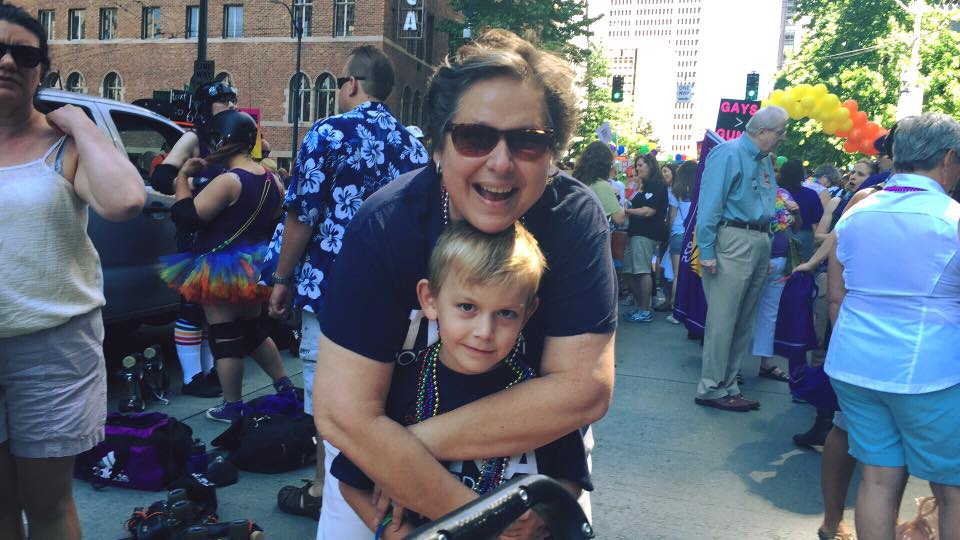 Democratic Secretary of State candidate Tina Podlodowski and her son.