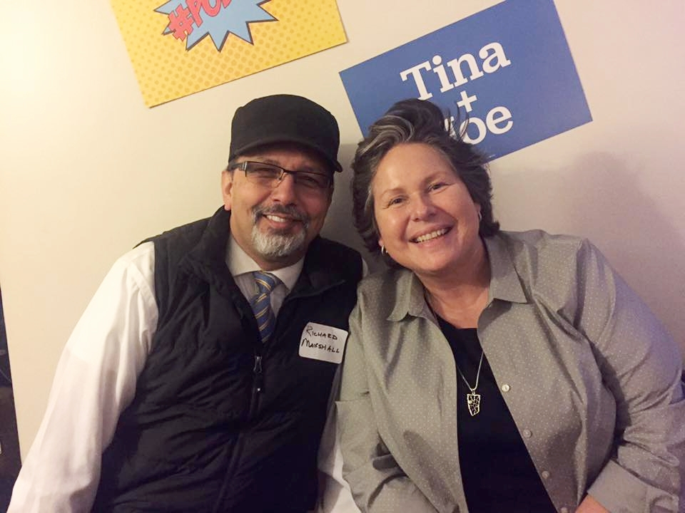 Congratulations to newly-elected  Washington State Democratic Party Chair  Tina Podlodowski   (pictured here with  Whatcom County Democrats State Committee Man Richard Marshall ). Photo by Tara Nelson.