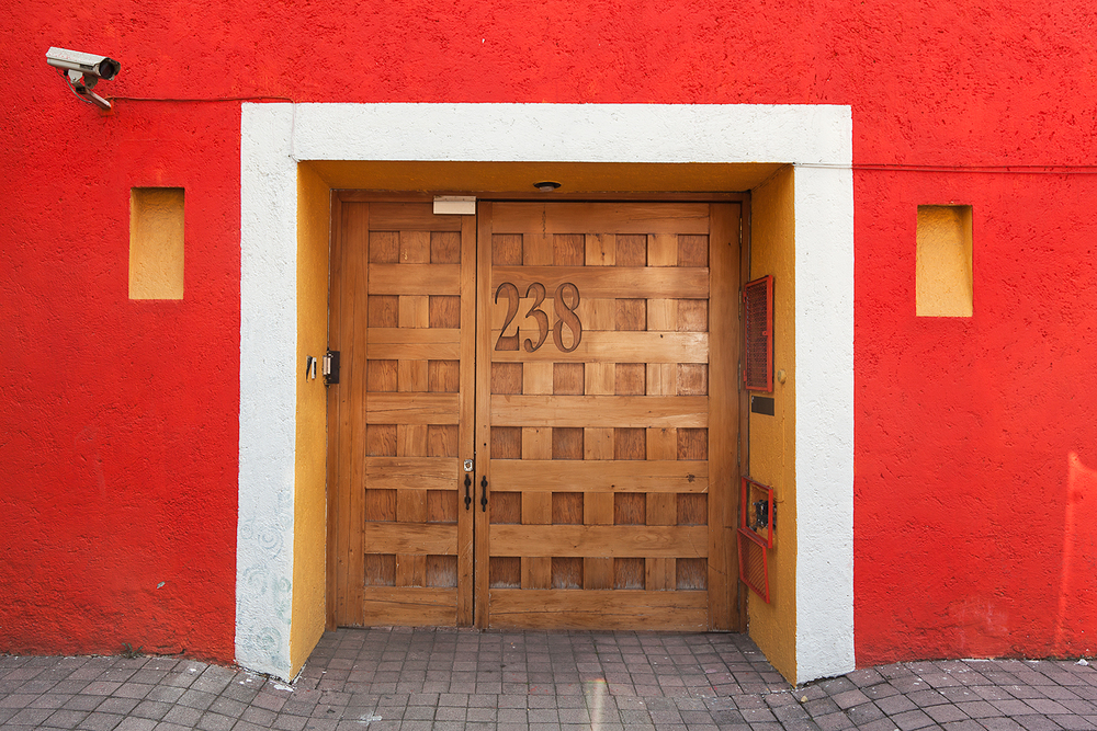 colorful house coyoacan mexico df architechture homes garage door.jpg