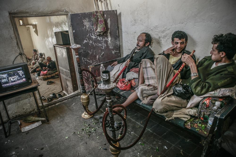 Qat chewers, Sana'a, Yemen