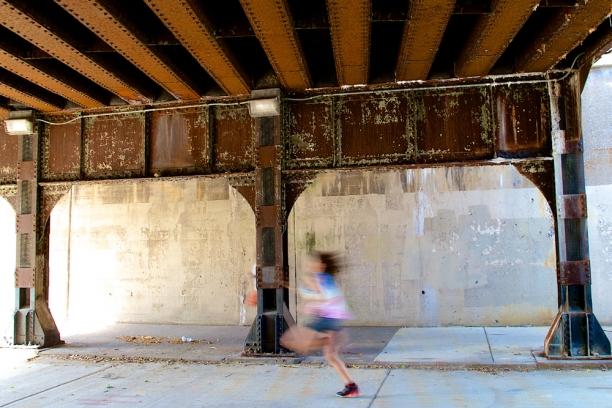 viaducts at Mulford, Evanston, IL | metal and concrete surfaces + line