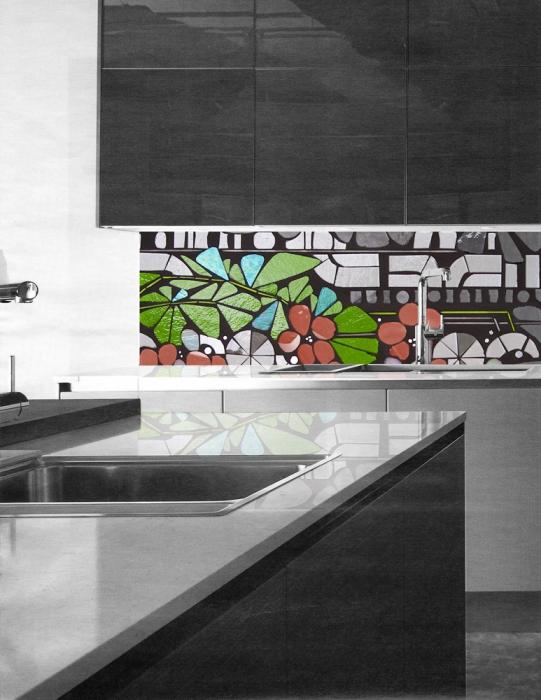 rendering | foliage full backsplash | contemporary kitchen