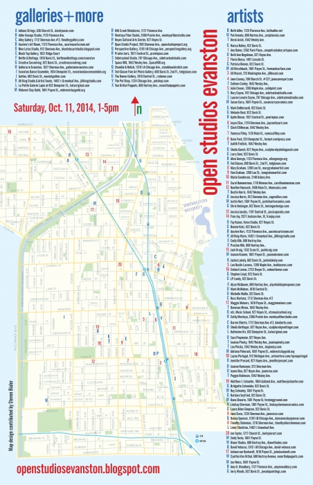 Saturday October 11 | Open Studios Evanston map
