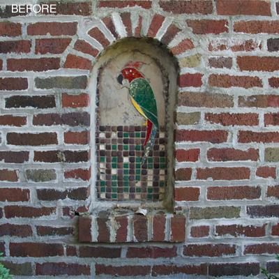 brick wall niche | BEFORE
