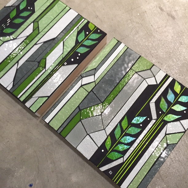 "Grow 1.6+1.4 | 10"" x 10"" | glass, stringer, grout c Heather Hancock 2015"