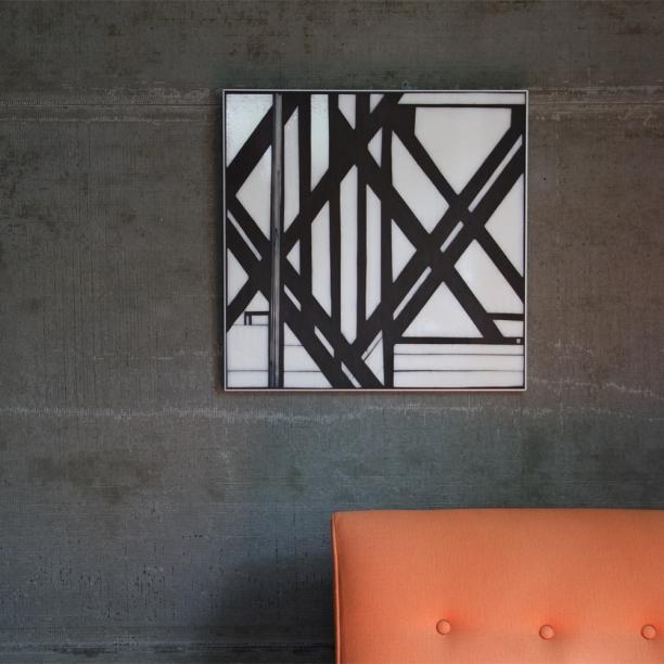 "Urban vocab | Lines 2.2 | 20""x20"" glass+grout c Heather Hancock 2015"