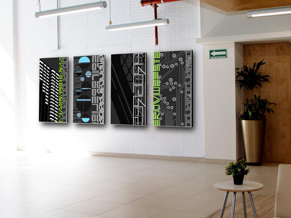 "rendering |  Scan: urban lines  (concept2) | 4 panels at 24""x48"" c Heather Hancock 2019"