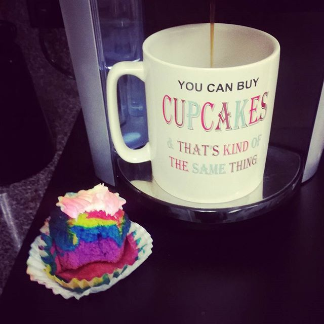 "They know my weakness around here. The other side of the cup says ""You can't buy happiness but..."" #cupcakes #sweets #workingmom #holidays #moresweetlesswork #rainbow #whereismystarbucks #coffeelover #coffeetime #coffeeaddict"
