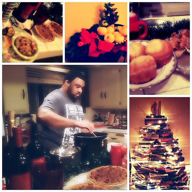 November 28th: I am thankful for Christmas Spirit and holidays off work! Snuck a picture of my favorite chef. Half the Christmas decor is up, bowl of gumbo in my fridge, and a book tree means the break was nice and it's now time to go back to reality but the feeling of the holidays is live and buzzing. 🌲🍁🍃⛄❄🎩 #30daysofgratitude #gratitudemonth #holidays #holidayweekend #homefortheholidays #jojotime #myhusbandisbetterthanyours #marryachefandnevergohungry #christmastimeishere #thankful #christmasdecor #grateful #christmasdecoration #familyfun #familydinner #christmasspirit