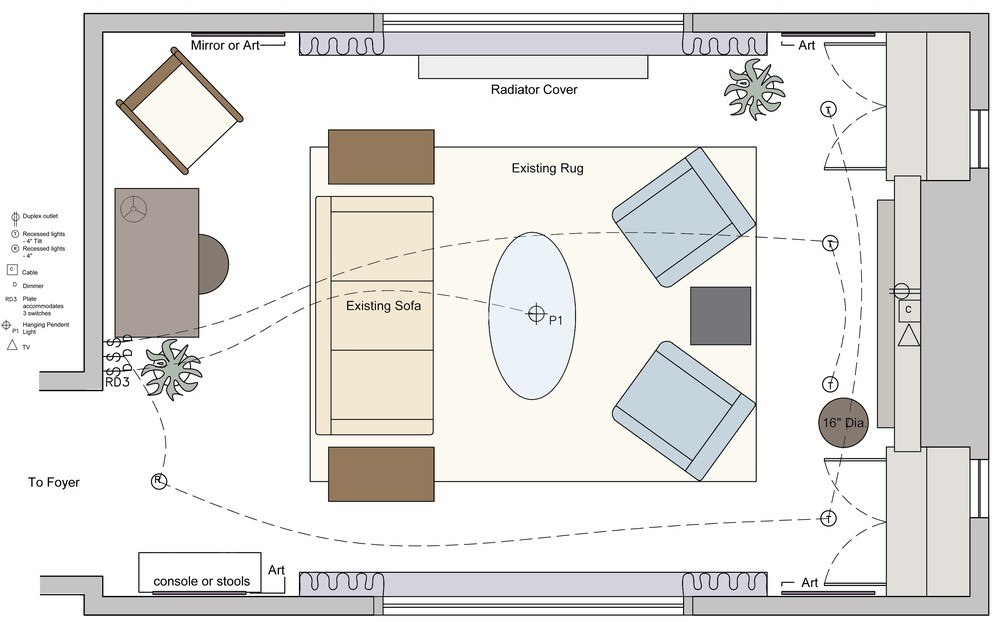 LIVING ROOM: FURNITURE & LIGHTING PLAN