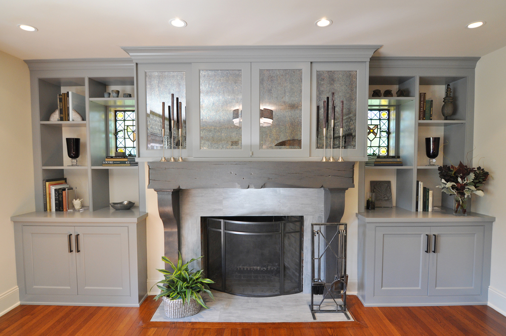 Living Room_Wall Unit_Cabinets_Custom Built-in_Custom Millwork_STEP ONE to Hide TV_Sliding Mirror Panels Hide TV_Fireplace_KAM DESIGN.jpg