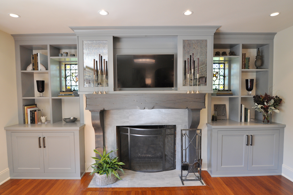 Living Room_Wall Unit_Cabinets_Custom Built-in_Custom Millwork_STEP THREE_Opened Sliding Doors_TV Over Mantel_Sliding Mirror Panels Hide TV_Fireplace_KAM DESIGN.jpg
