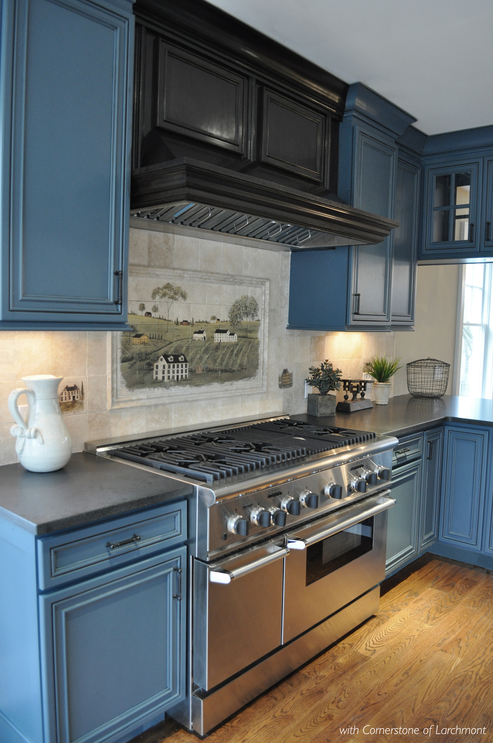 Kim Annick Mitchell_Interior Designer_Contemporary Country Kitchen_Blue Kitchen Cabinetry_Honed Granite Countertop.jpg