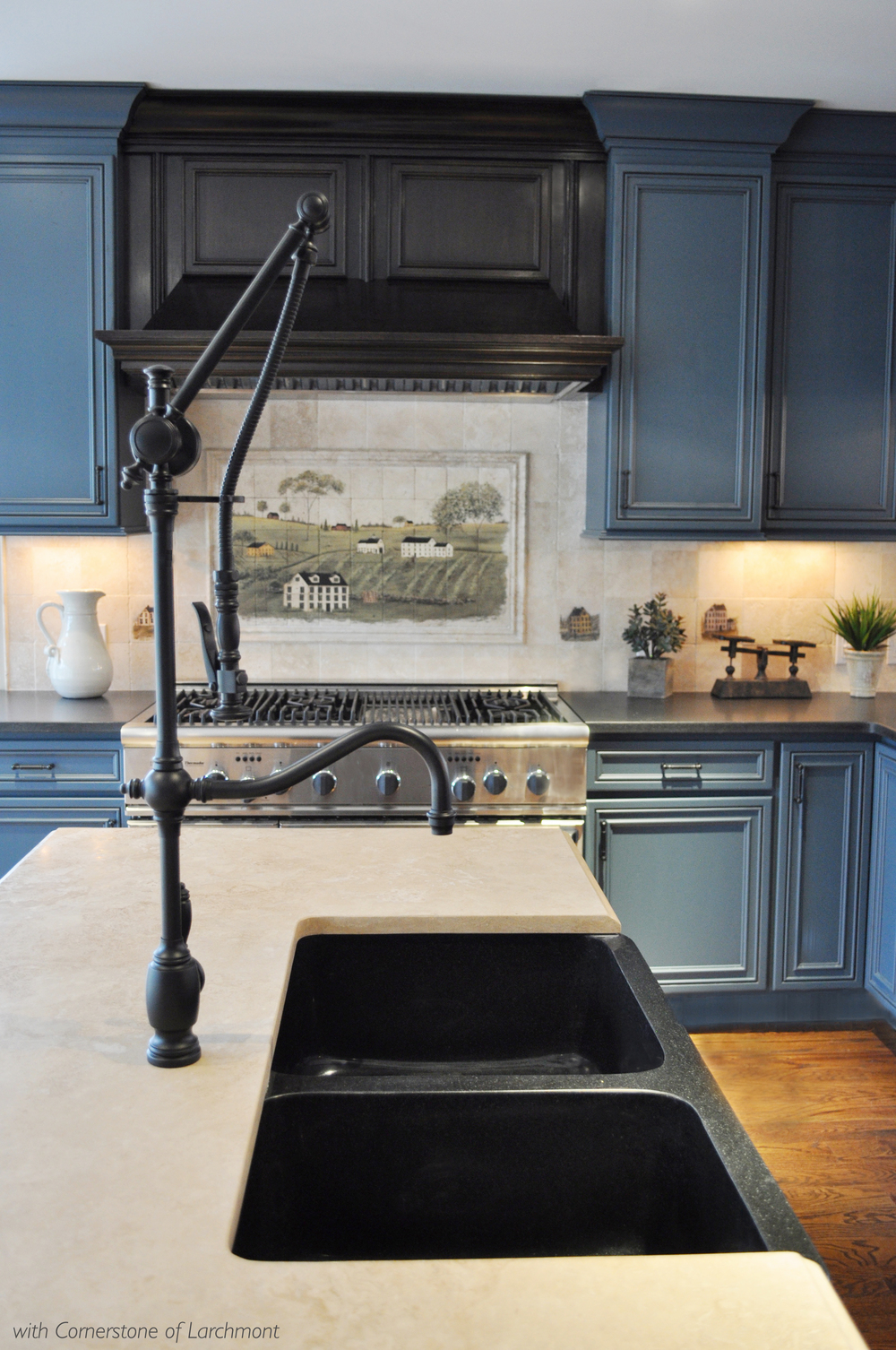 Kim Annick Mitchell_Interior Designer_Contemporary Country Kitchen_Pull-down Faucet_Travertine Countertop_Granite Double Sink.jpg