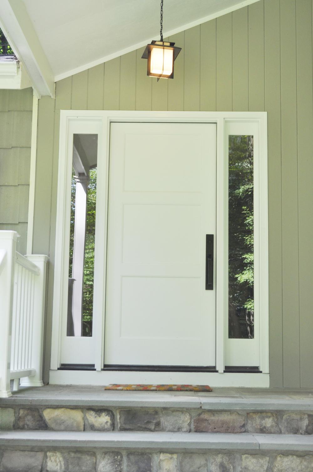 KAM DESIGN LLC_Entry Door Designs_White Front Door_Entry Pendant Light_Oil Rubbed Bronze Hardware_Front Door with Sidelights.jpg