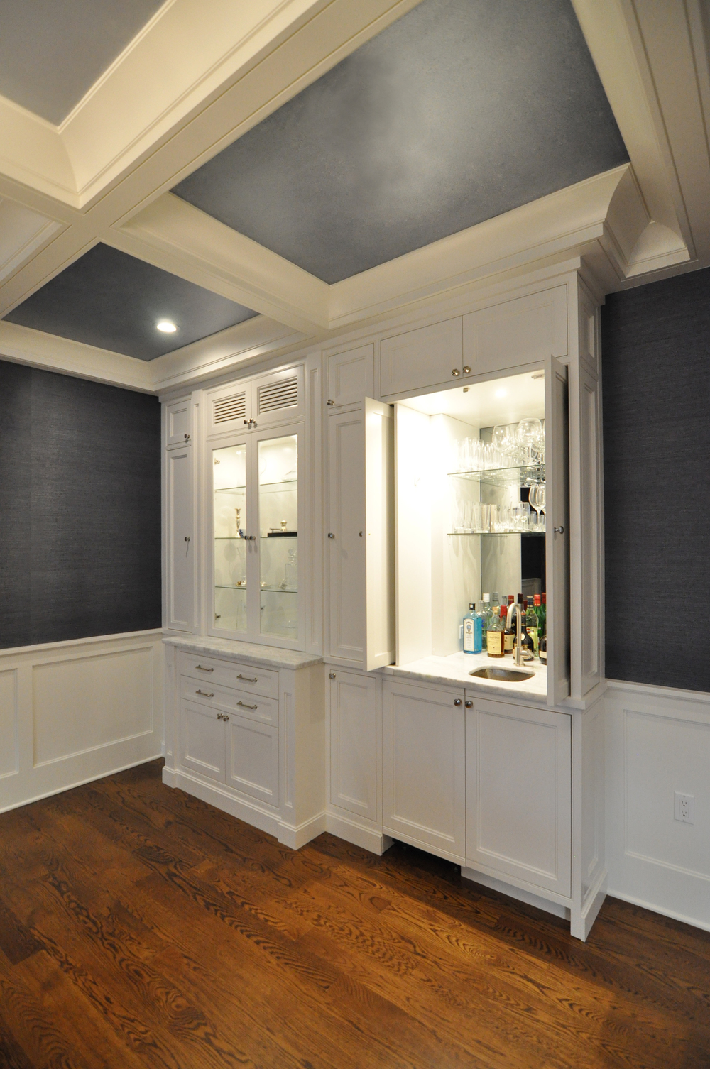 KAM DESIGN_Dining Room Millwork_Custom White Cabinet_Wet Bar_Coffered Ceiling_Faux Paint Finish_Wainscot - 1.jpg