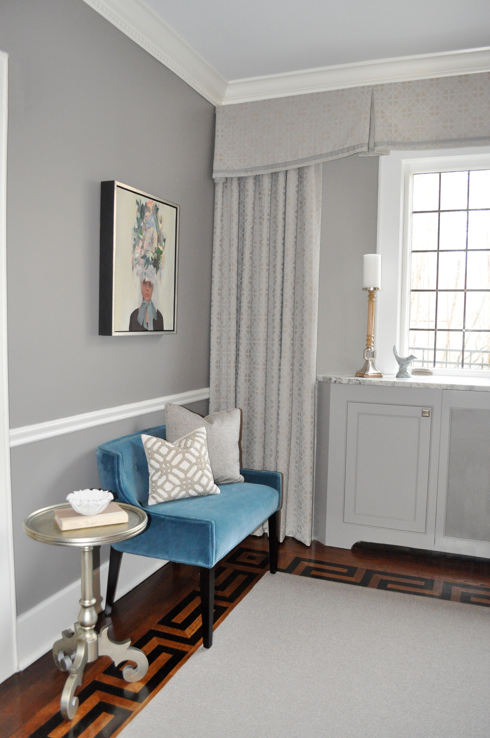 KAM DESIGN_Dining Room_Custom Leaded Glass Casement Windows_Custom Sideboard Radiator Cover_Gray_Taupe_Teal_Classic Elegance_Galviston Gray_Stark Invicta Rug_Pollack Wool Grille Custom Drapery_Jessica Charles Bench .jpg