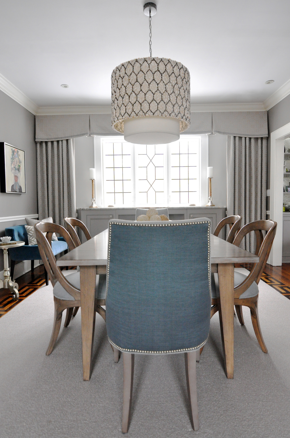 KAM DESIGN_Dining Room_Gray_Taupe_Teal_Custom Leaded Glass Casement Windows_Pollack Wool Grille Drapery_Grange Cabinet_Ottoman Empire Host Chair Fabric_Stark Invicta Rug_2015_web.jpg