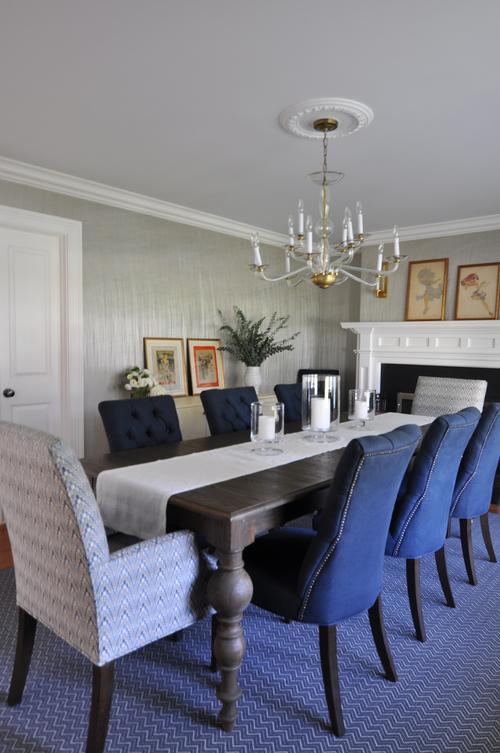 Classic Dining Room_New Rochelle NY_Innovations Wallcovering_Kravet Host  Chair Fabric_Navy_Cream_Interior Designer Kim A Mitchell_KAM DESIGN_2016.jpg