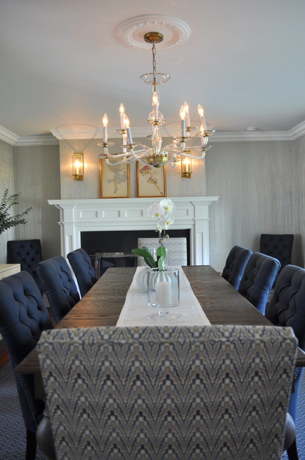Mamaroneck NY_Classic Dining Room_Innovations Wallcovering_Circa Sconces_Navy_Cream_Circa Brass Sconces_Kravet Host Chair Fabric_Interior Designer Kim A Mitchell_KAM DESIGN_2016_for Web.jpg