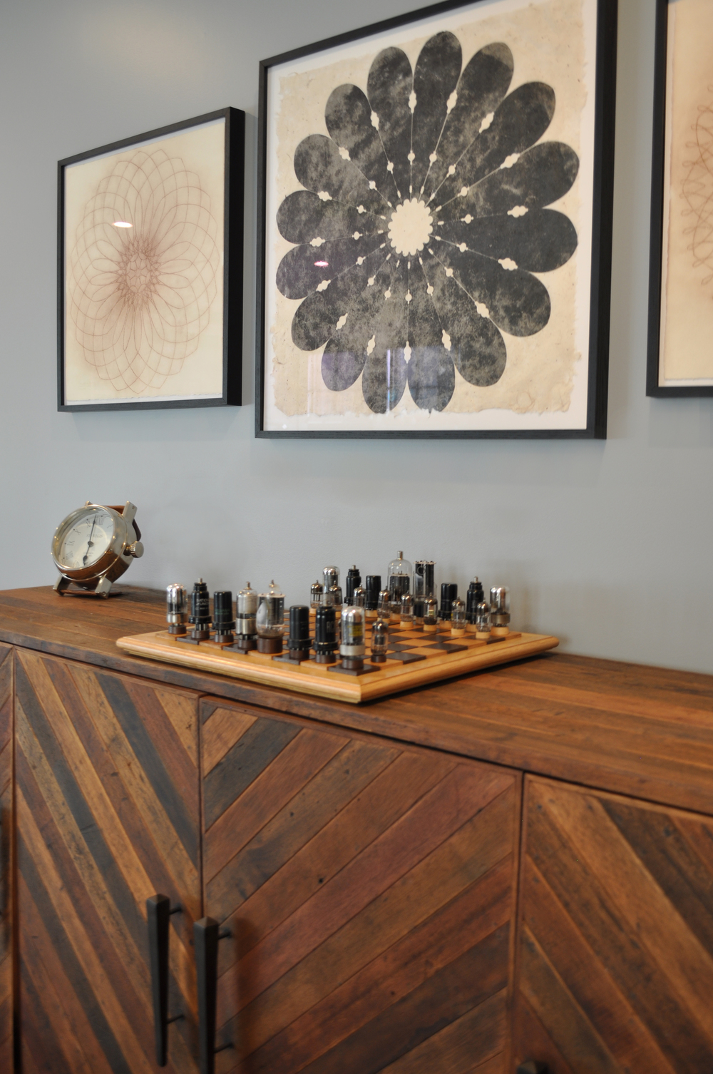 Kim A Mitchell Interior Designer_Larchmont NY_Contemporary Family Room_Game Room_Chess Set_Reclaimed Wood Credenza_Mary Judge Art from K Barnes Fine Art_KAM DESIGN_2016.jpg
