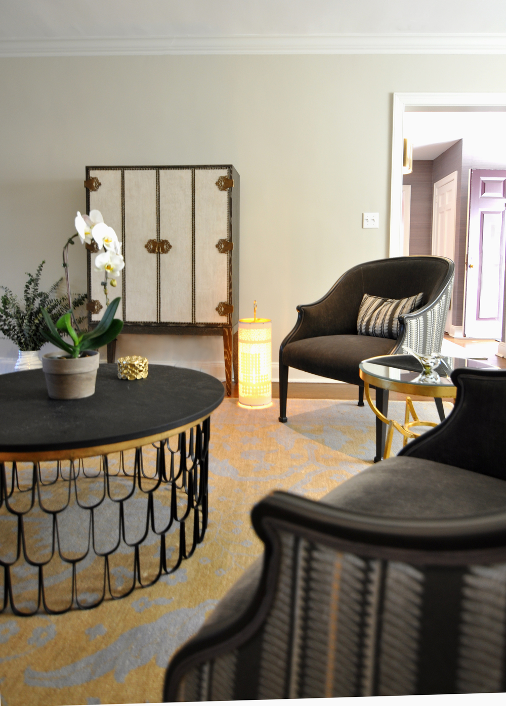 Kim A Mitchell Interior Designer_KAM DESIGN_Timeless Relaxed Luxury_Formal Living Room_Black Cream Gold Plum Color Palette_Arteriors Cocktail Table_Arteriors Cabinet_Fiyel Levent Lantern_Pollck Fabric on Chairs_2016.jpg