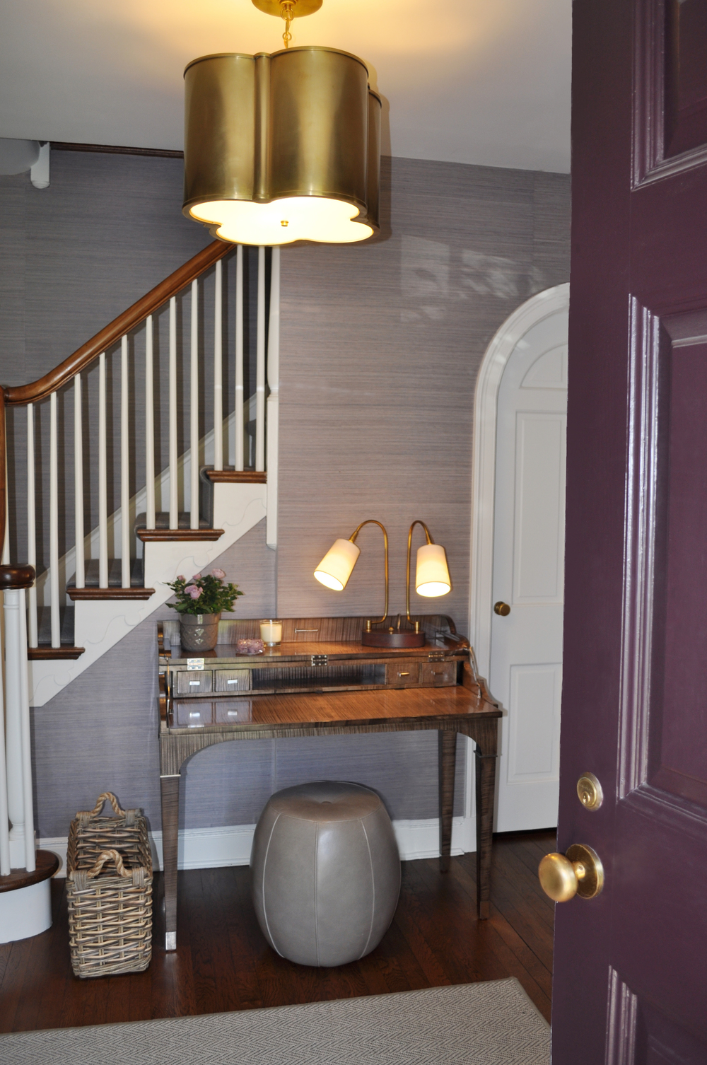 Foyer_Plum Front Door_Phillip Jeffries Hudson Haze Grasscloth Wallcovering_Entry Desk_Ballard Design Leather Pouf_Interior Designer Kim A Mitchell_KAM DESIGN_2016(1).jpg