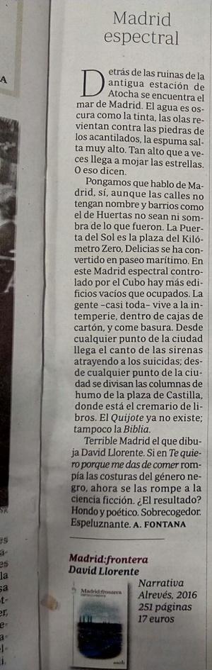 Madrid espectral. Antonio Fontana. ABC Cultural. 06-02-2015