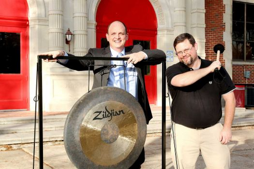 Learn Local member Peter Marmo (left), Hogg MS Band Director David Sells (right).