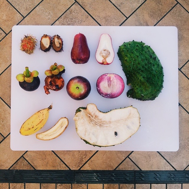 You bring home your exotic finds and chop them up for a giant tropical breakfast bowl.  [rambutan, mountain apple, mangosteen, governor's plum, cooking banana, soursop aka guanabana (big green + white guy) (left to right)]